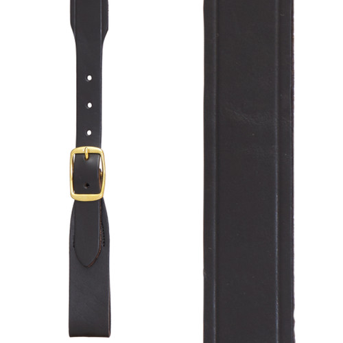 Plain w/Crease Handcrafted Western Leather Belt Loop Suspenders - BLACK