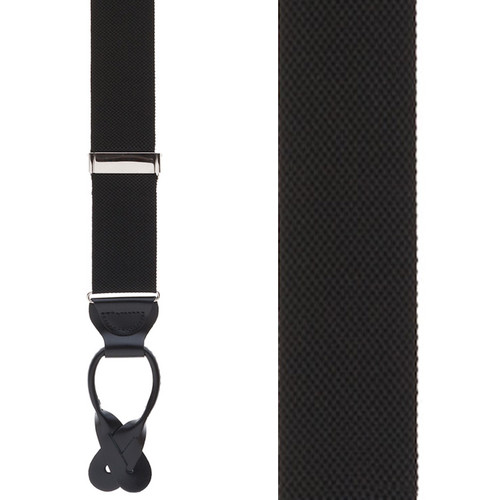 Black Oxford Cloth Suspenders - Button