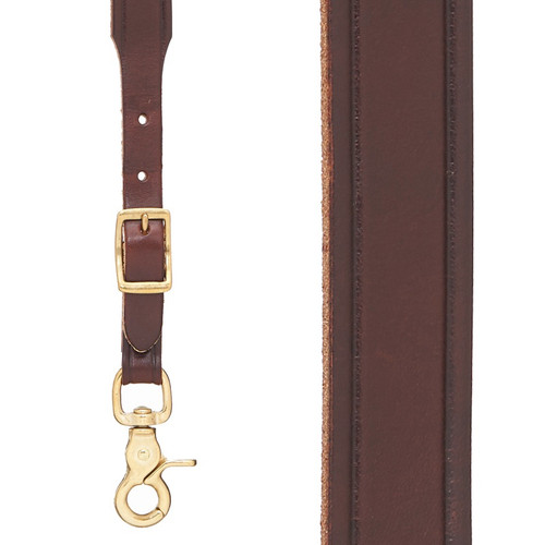 Plain Tooled 1 Inch Wide Western Leather Suspenders - BROWN