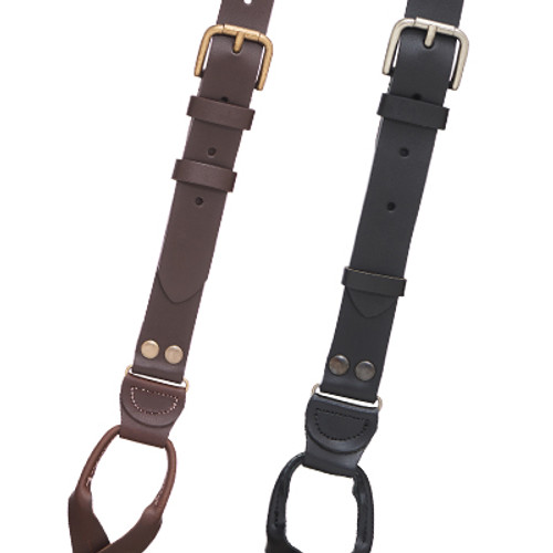 Buckle Strap Leather Suspenders - Button