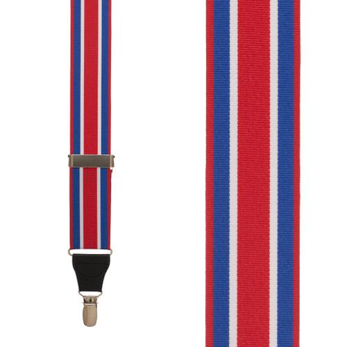 Red White & Blue Stripe Grosgrain CLIP Suspenders