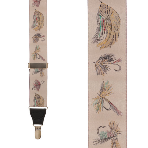 Vintage Ribbon Ivory Fly Fishing Suspenders - CLIP