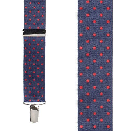 Polka Dot Suspenders - Red on Navy 1.5 Inch Wide Clip