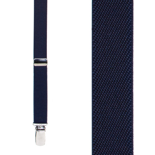 Navy Blue Thin Suspenders - Matte 3/4 Inch Wide