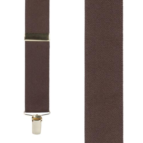 1.5 Inch Wide Brass Clip Suspenders - BROWN