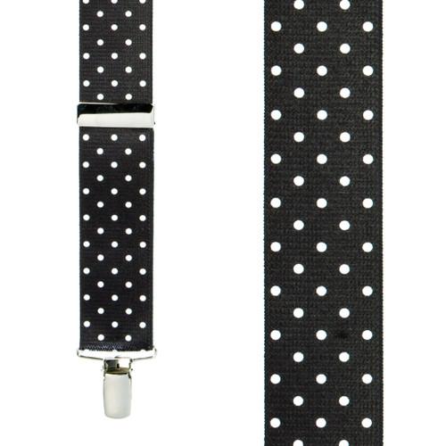 Polka Dot Suspenders - White on Black 1.5 Inch Wide Clip