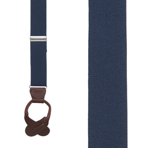 Kids' Suspenders, 1-Inch Wide Button - NAVY BLUE (Brown Leather)