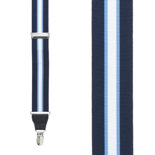 Navy/Steel Grosgrain Striped CLIP Suspenders
