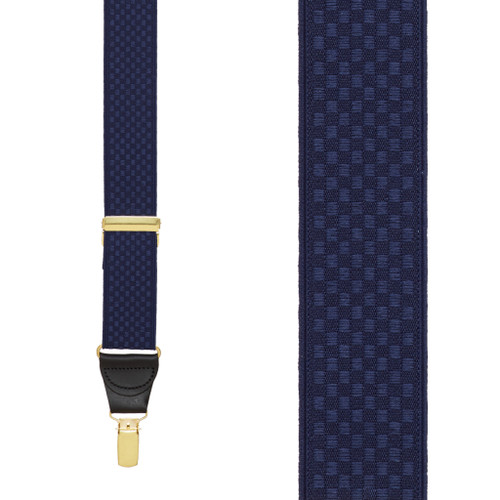 Navy Jacquard Checkered Suspenders - Clip