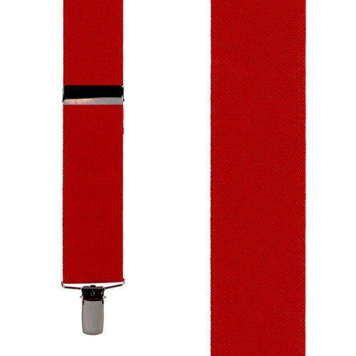 1.5 Inch Wide Clip Suspenders - RED