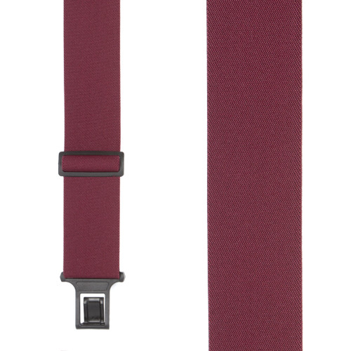 Burgundy Perry Suspenders - 2 Inch Wide Belt Clip