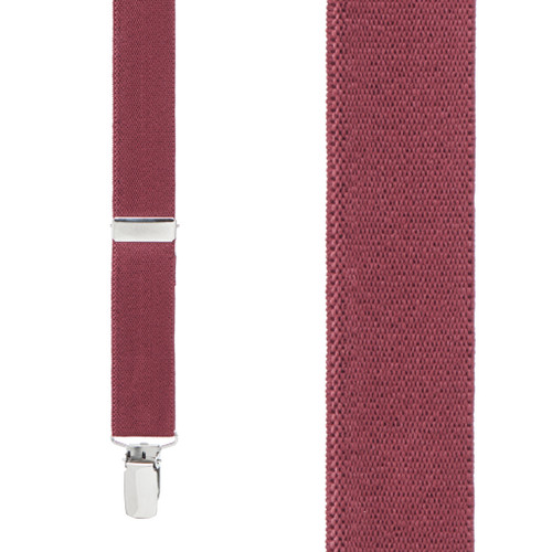 1 Inch Wide Clip Suspenders (X-Back) - BURGUNDY
