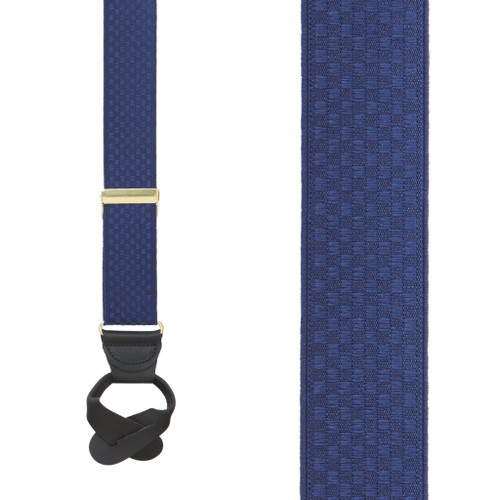 Navy Jacquard Checkered Suspenders - Button