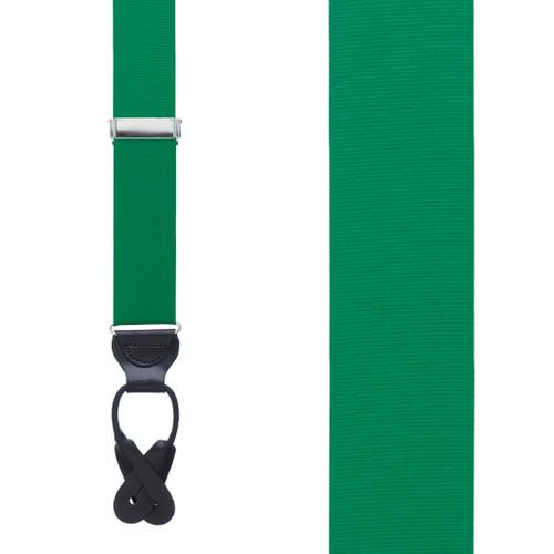 Kelly Green Grosgrain BUTTON Suspenders