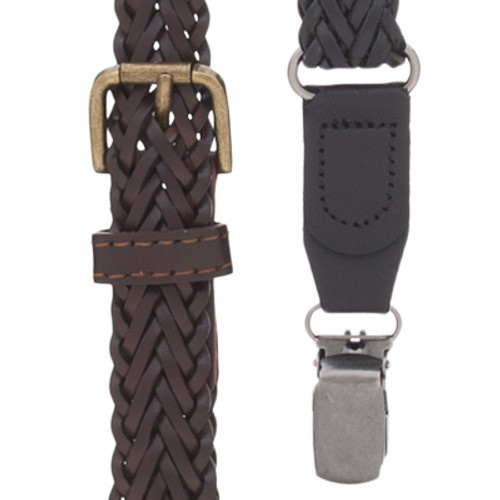 Herringbone Braided Leather Suspenders - Clip