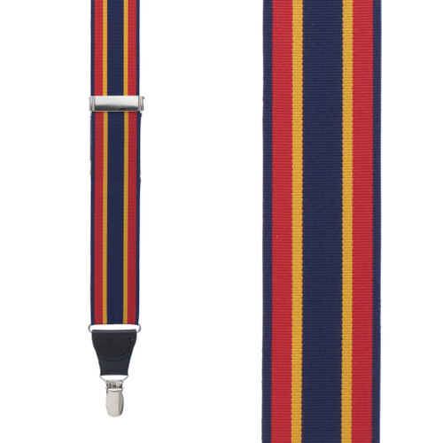 Red/Yellow/Navy Grosgrain Striped CLIP Suspenders