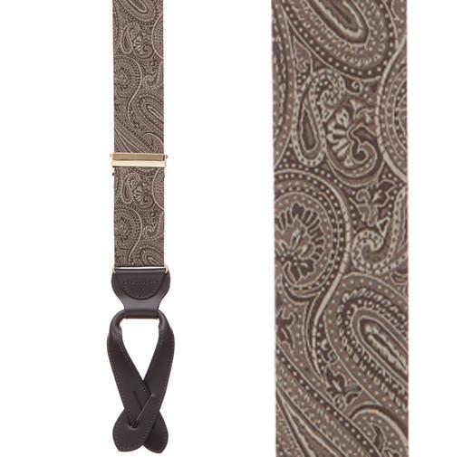 Brown Paisley Silk Suspenders - Button