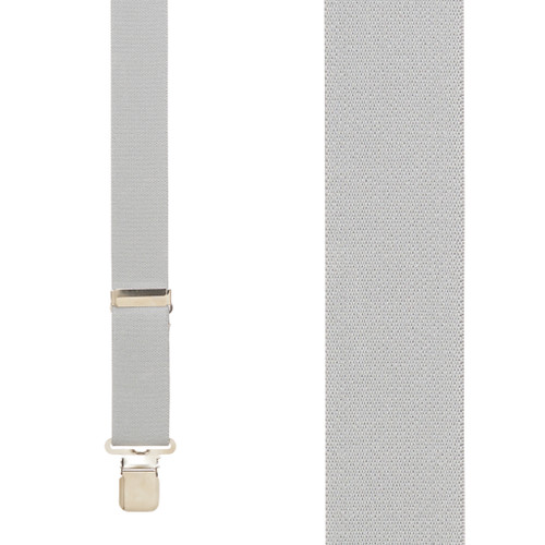 1.5 Inch Wide Construction Clip Suspenders - LIGHT GREY