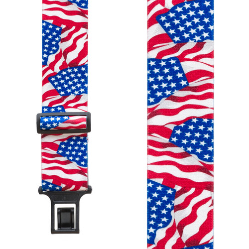 Flag Suspenders - AMERICAN, Belt Clip