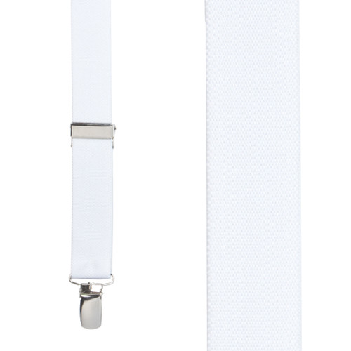 1 Inch Wide Clip Suspenders (X-Back) - WHITE