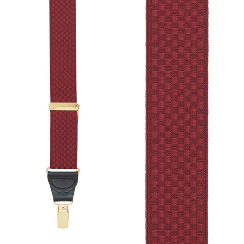 Burgundy Jacquard Suspenders - Checkers Clip