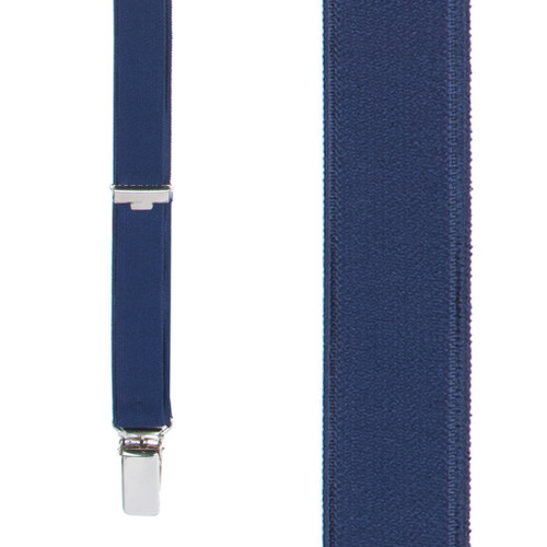 3/4 Inch Wide Thin Suspenders - NAVY BLUE (Satin)