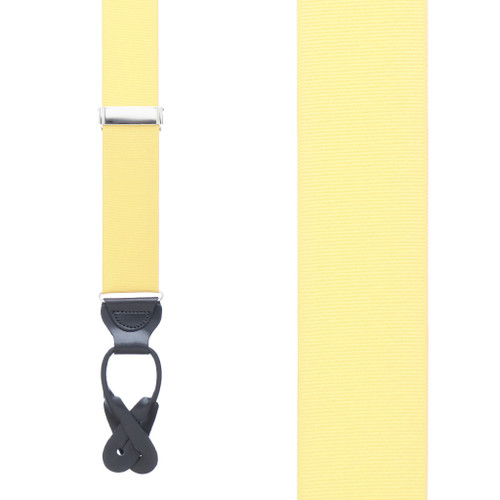 Light Yellow Grosgrain BUTTON Suspenders