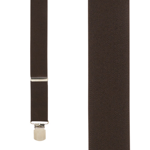 2 Inch Wide Pin Clip Suspenders - BROWN