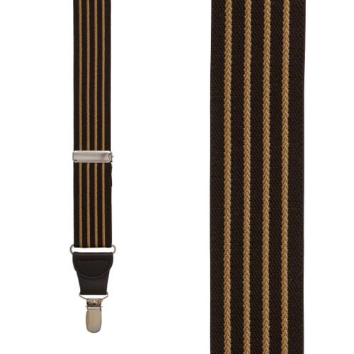 BROWN Pinstripe Elastic Suspenders - Clip