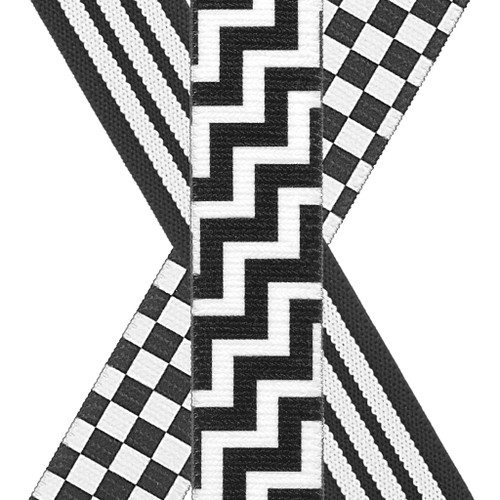 Y-Back Black & White Suspenders - 1 Inch Wide