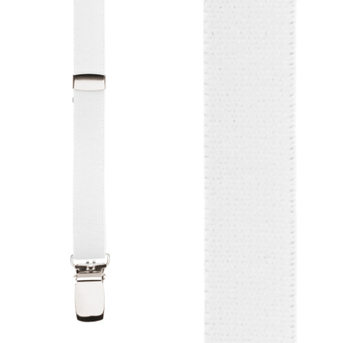 1/2 Inch Wide Skinny Suspenders - WHITE