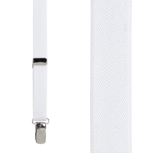 3/4 Inch Wide Thin Suspenders - WHITE (Matte)