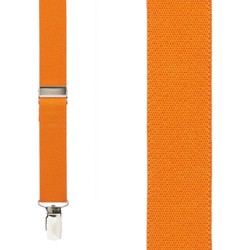 1 Inch Wide Clip Suspenders (X-back) - ORANGE