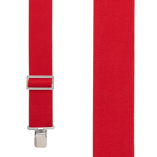 Logger Clip Suspenders - 2 Inch Wide RED