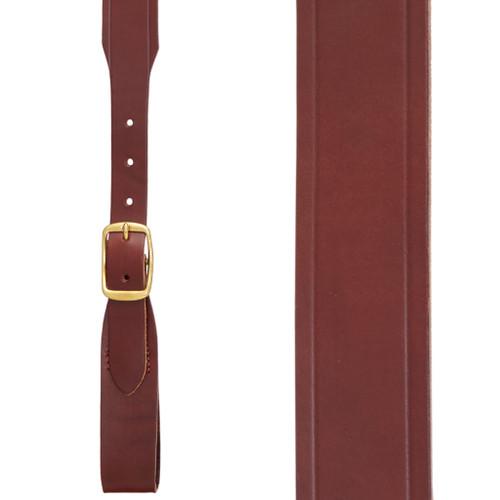 Plain w/Crease Handcrafted Western Leather Belt Loop Suspenders - BROWN