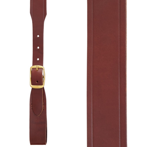 Plain w/Crease Handcrafted Western Leather Belt Loop Suspenders - BROWN