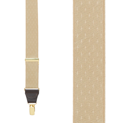 Tan Jacquard Suspenders - Petite Diamonds Clip
