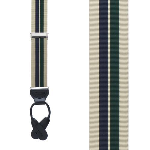 Khaki/Hunter/Navy Grosgrain Striped BUTTON Suspenders