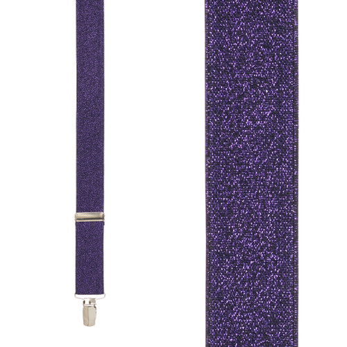 Purple Glitter Suspenders - 1 Inch Wide