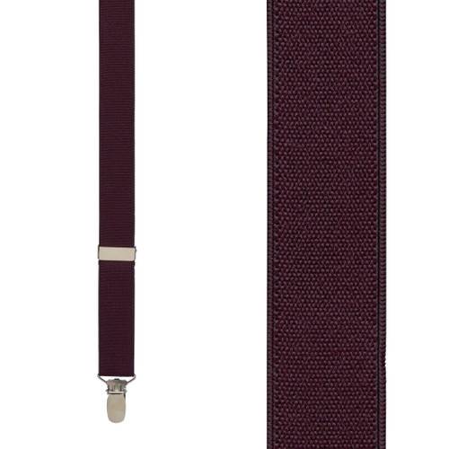 1 Inch Wide Clip Suspenders (Y-Back) - EGGPLANT