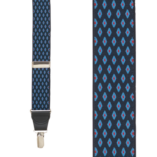 NAVY Jacquard Diamond Burst Checkered Suspenders - Clip