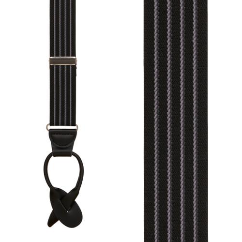 BLACK Pinstripe Elastic Suspenders - Button