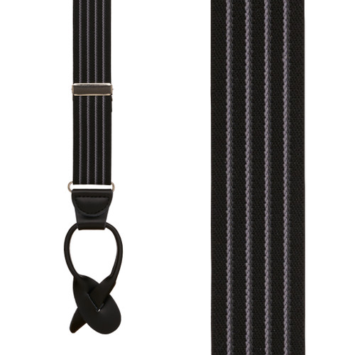 BLACK Pinstripe Elastic Suspenders - Button