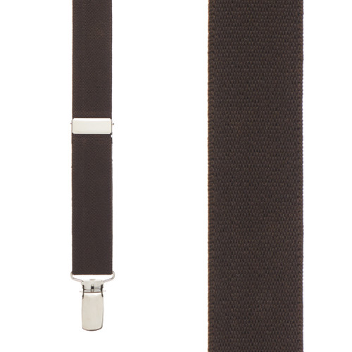 1 Inch Wide Clip Suspenders (Y-Back) - BROWN