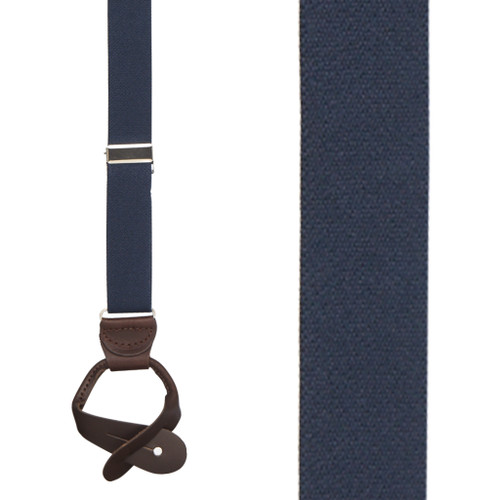 1 Inch Wide Button Suspenders   NAVY BLUE (Brown Leather)