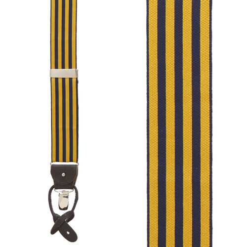 Gold/Navy Equal Stripes Barathea Suspenders
