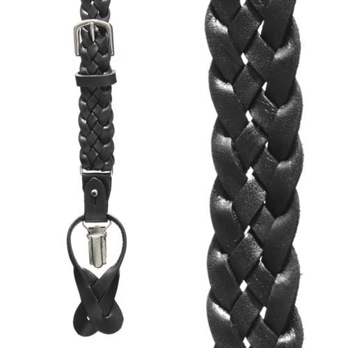 Basketweave Braided Leather Convertible Suspenders - BLACK