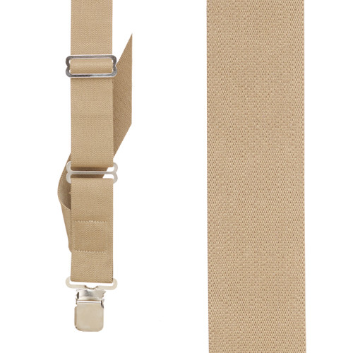 Tan Side Clip Suspenders, 1.5-Inch Wide - Construction Clip