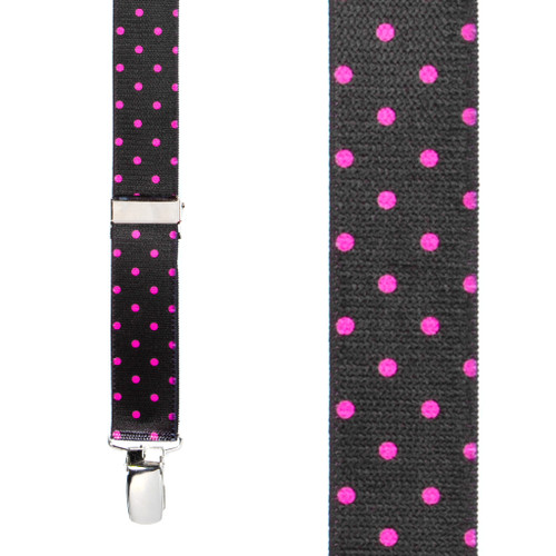 Pink Polka Dots on Black Suspenders - 1 Inch Wide Clip