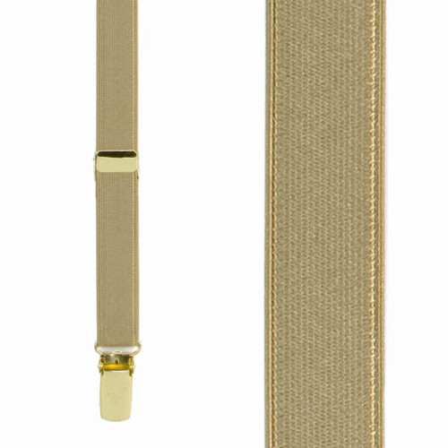 3/4 Inch Wide Thin Suspenders - CAMEL (Satin)